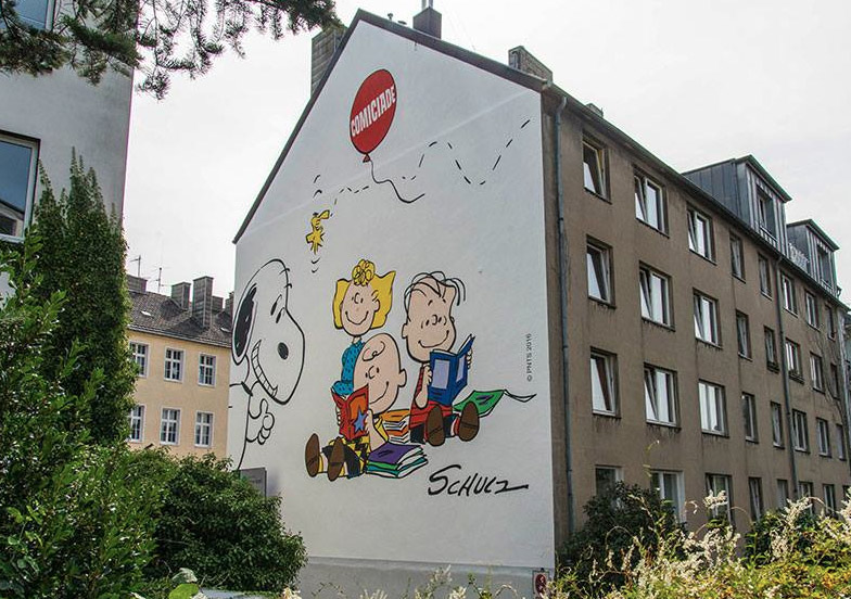 Das größte Peanuts Wandgemälde steht in Aachen Nord
